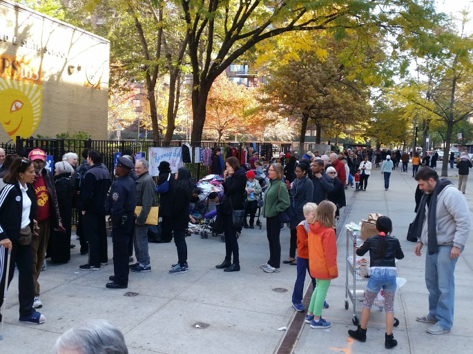 The line to vote at about 11 a.m. on Nov. 8 outside our local elementary school on the Upper West Side. I came back later to vote but I heard that the line moved quickly.