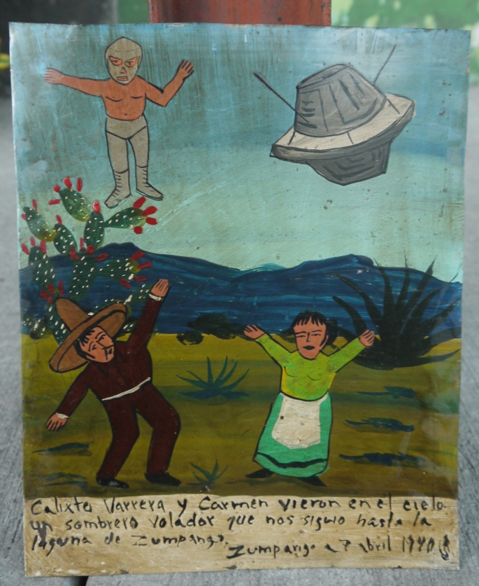 I bought this exvoto (or ex-voto) in the Lagunilla flea market in Mexico City from the painter, Rafael Contreras.